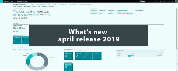 Whats new Dynamics 365 Business Central april release 2019