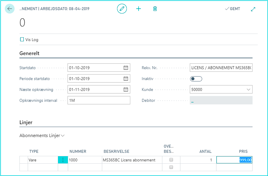 Abonnement i Dynamics 365 Business Central